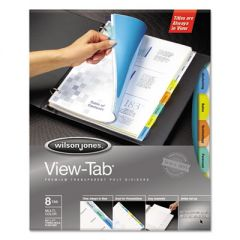 VIEW-TAB TRANSPARENT INDEX DIVIDERS, 8-TAB, 11 X 8.5, ASSORTED, 5 SETS