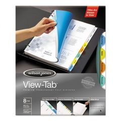 ROUND VIEW-TAB TRANSPARENT INDEX DIVIDERS, 8-TAB, 11 X 8.5, ASSORTED, 1 SET