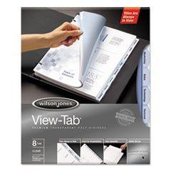 VIEW-TAB TRANSPARENT INDEX DIVIDERS, 8-TAB, 11 X 8.5, CLEAR, 1 SET
