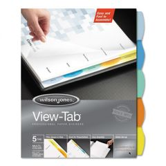 VIEW-TAB PAPER INDEX DIVIDERS, 5-TAB, 11 X 8.5, WHITE, 1 SET