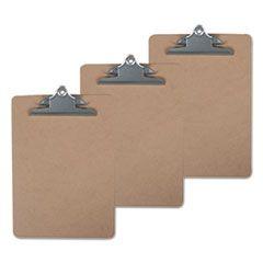 """Hardboard Clipboard, 1"""" Capacity, 8 1/2 X 11, Brown, 3/pack"""