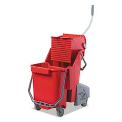 Side-Press Restroom Mop Dual Bucket Combo, 8gal, Plastic, Red