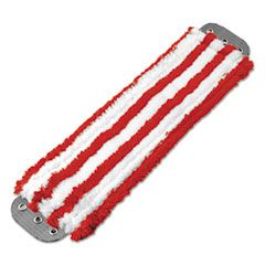 Microfiber Mop Head, 16 X 5, Medium-Duty 7mm Pile, Red/white
