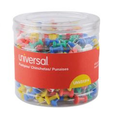 """Colored Push Pins, Plastic, Assorted, 3/8"""", 400/pack"""