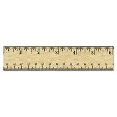 """Flat Wood Ruler W/double Metal Edge, 12"""", Clear Lacquer Finish"""