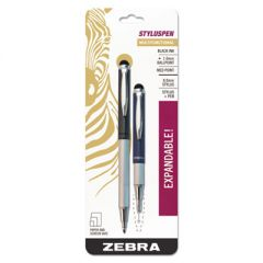 STYLUSPEN RETRACTABLE BALLPOINT PEN/STYLUS, 1MM, BLACK INK, BLUE/GRAY BARREL, PAIR
