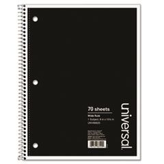 WIREBOUND NOTEBOOK, 1 SUBJECT, WIDE/LEGAL RULE, BLACK COVER, 10.5 X 8, 70 SHEETS