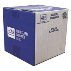 "RECLOSEABLE ZIPPER SEAL SANDWICH BAGS, 1.15 MIL, 6.5"" X 5.88"", CLEAR, 500/BOX"