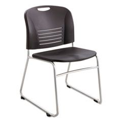 VY SERIES STACK CHAIRS, BLACK SEAT/BLACK BACK, SILVER BASE, 2/CARTON