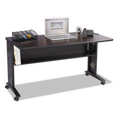 MOBILE COMPUTER DESK WITH REVERSIBLE TOP, 53.5W X 28D X 30H, MAHOGANY/MEDIUM OAK/BLACK
