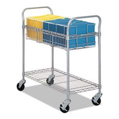 WIRE MAIL CART, 600-LB CAPACITY, 18.75W X 39D X 38.5H, METALLIC GRAY