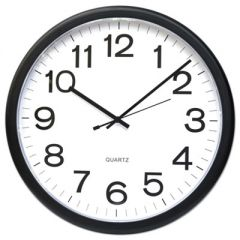 "ROUND WALL CLOCK, 13.5"" OVERALL DIAMETER, BLACK CASE, 1 AA (SOLD SEPARATELY)"
