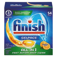 DISH DETERGENT GELPACS, ORANGE SCENT, 54/BOX, 4 BOXES/CARTON