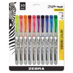 ZAZZLE LIQUID INK HIGHLIGHTER, CHISEL TIP, ASSORTED COLORS, 10/SET