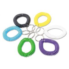 Wrist Coil Plus Key Ring, Plastic, Assorted Colors, 6/pack