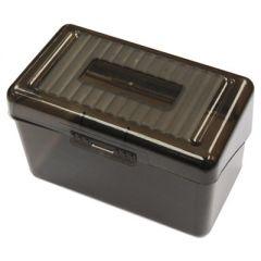 """Plastic Index Card Boxes, 3"""" X 5"""", Translucent Black"""