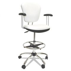 "LAB AND HEALTHCARE SEATING, 28"" SEAT HEIGHT, SUPPORTS UP TO 300 LBS., WHITE SEAT/WHITE BACK, CHROME BASE"