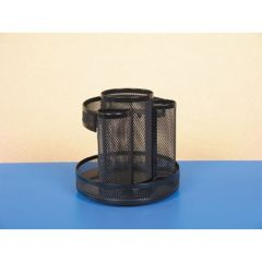 METAL MESH ROTATING DESKTOP ORGANIZER, 6 1/2 DIA X 6 1/8H, BLACK