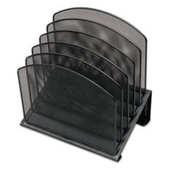 "METAL MESH TIERED FILE SORTER, 5 SECTIONS, LETTER TO LEGAL SIZE FILES, 11.25"" X 7.5"" X 11.25"", BLACK"