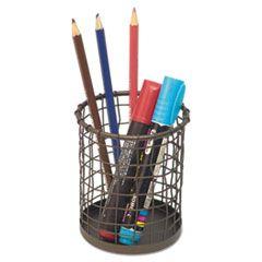 "Vintage Wire Mesh Pencil Cup, 3 3/8""dia X 4 1/2""h, Vintage Bronze"