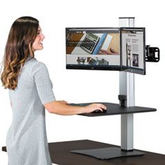 DC450 HIGH RISE ELECTRIC DUAL MONITOR STANDING DESK WORKSTATION, 28W X 23D X 20.25H, BLACK/ALUMINUM