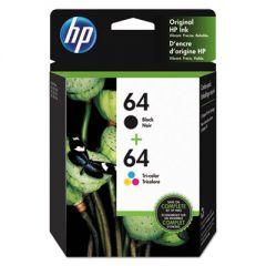 HP 64 Tri-color/Black Ink Crtg Cmbo 2-Pk