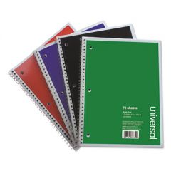 WIREBOUND NOTEBOOK, 4 SQ/IN QUADRILLE RULE, 10.5 X 8, WHITE, 70 SHEETS, 4/PACK