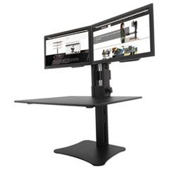 HIGH RISE DUAL MONITOR STANDING DESK WORKSTATION, 28W X 23D X 15.5H, BLACK
