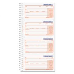 Wirebound Message Books, 5 X 3 3/8, Two-Part Carbonless, 400 Sets/book