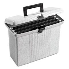 "PORTABLE FILE BOXES, LETTER FILES, 14.88"" X 6.5"" X 11.88"", GRANITE"