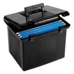 "PORTABLE FILE BOXES, LETTER FILES, 13.88"" X 14"" X 11.13"", BLACK"