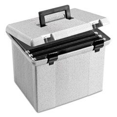 "PORTABLE FILE BOXES, LETTER FILES, 13.88"" X 14"" X 11.13"", GRANITE"