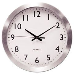 "BRUSHED ALUMINUM WALL CLOCK, 12"" OVERALL DIAMETER, SILVER CASE, 1 AA (SOLD SEPARATELY)"