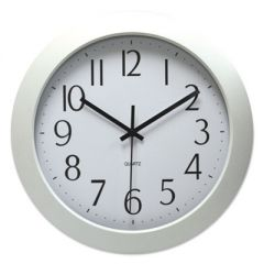 "WHISPER QUIET CLOCK, 12"" OVERALL DIAMETER, WHITE CASE, 1 AA (SOLD SEPARATELY)"