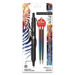X-701 RETRACTABLE BALLPOINT PEN, FINE 0.7MM, BLACK INK, BLACK BARREL