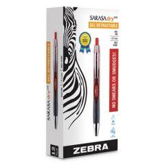 SARASA DRY GEL X30 RETRACTABLE GEL PEN, MEDIUM 0.7MM, RED INK/BARREL, DOZEN