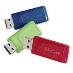STORE 'N' GO USB FLASH DRIVE, 8 GB, ASSORTED COLORS, 3/PACK
