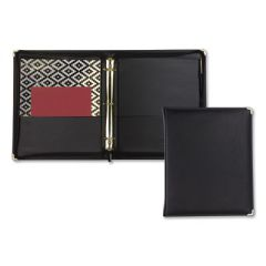 """CLASSIC COLLECTION ZIPPER RING BINDER, 3 RINGS, 1.5"""" CAPACITY, 11 X 8.5, BLACK"""