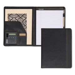 Slimline Padfolio, Leather-Look/faux Reptile Trim, Writing Pad, Black