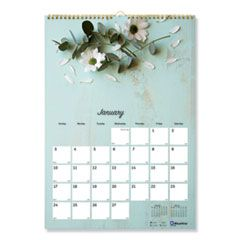 ONE MONTH PER PAGE TWIN WIREBOUND WALL CALENDAR, FLORAL, 12 X 17, 2021