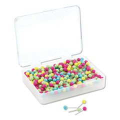 """MAP PUSH PINS, PLASTIC, ASSORTED, 1/2"""", 300/PACK"""