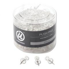 "STANDARD PUSH PINS, PLASTIC, CLEAR, 7/16"", 200/PACK"
