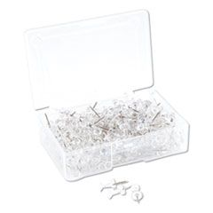 """STANDARD PUSH PINS, PLASTIC, CLEAR, SILVER PIN, 7/16"""", 200/PACK"""