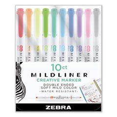 MILDLINER DOUBLE ENDED HIGHLIGHTER, CHISEL/BULLET TIP, ASSORTED COLORS, 10/SET
