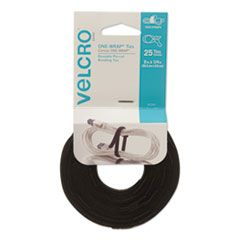 "ONE-WRAP PRE-CUT THIN TIES, 0.25"" X 8"", BLACK, 25/PACK"