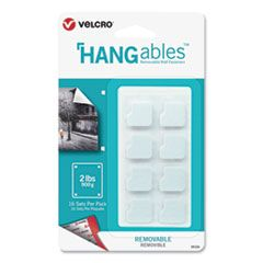 """HANGABLES REMOVABLE WALL FASTENERS, 0.75"""" X 0.75"""", WHITE, 16/PACK"""