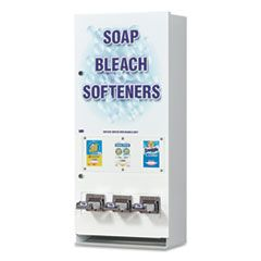 """COIN-OPERATED SOAP VENDER, 3-COLUMN, 16.25"""" X 37.75"""" X 9.5"""", WHITE/BLUE"""