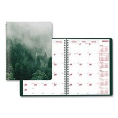 MOUNTAINS 14-MONTH PLANNER, 11 X 8.5, GREEN/BLACK/GRAY, 2021