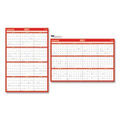 ERASABLE WALL CALENDAR, 24 X 36, WHITE/RED, 2021