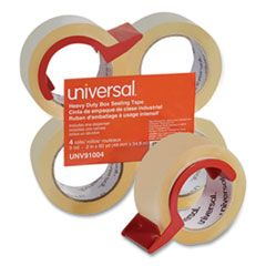 """HEAVY-DUTY BOX SEALING TAPE WITH DISPENSER, 3"""" CORE, 1.88"""" X 60 YDS, CLEAR, 4/BOX"""